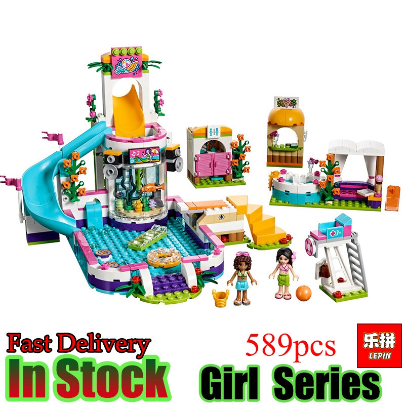 Lepin 01013 Friend Series Heartlake Summer Pool flower ball Girls Building Blocks Bricks kids Toys for kids Gift 41313 waz compatible legoe friends 41313 lepin 01013 589pcs building blocks the heartlake summer pool bricks figure toys for children