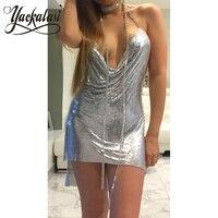 YACKALASI Club Women Party Dress Kendall Jenner Metal Mesh Spaghetti Strap Sheath Draped Hollow Out Spark Diamonds Neck Halter