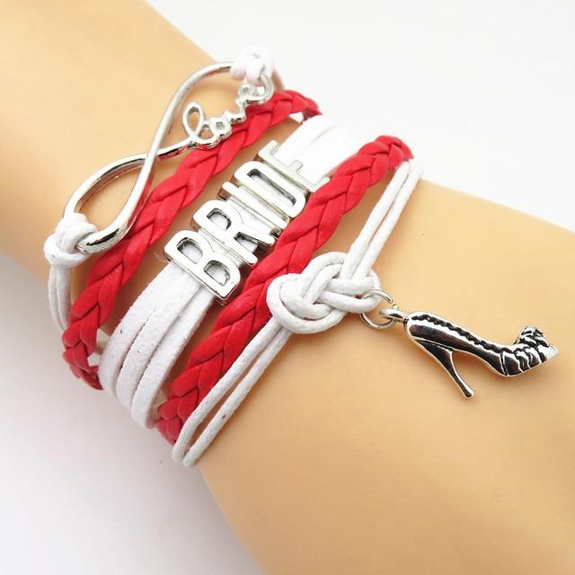 Sandei Fashion Infinity Love Bridesmaid Bracelet Red White Bride