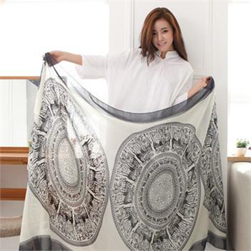Warm Vintage Long Soft Cotton Voile Print Scarves Shawl Wrap Cozy Scarf Stole For Woman 165 Cm*85 Cm