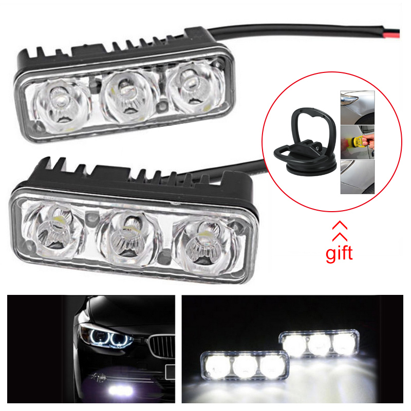 Image 2 - 2pcs Warterproof LED Car Daytime Running Lights 12V Car Fog Light Super Bright 6000K DRL LED Lamps For Car-in Car Light Assembly from Automobiles & Motorcycles