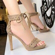 –2017 Female Sweet Summer High Heels Sandals European Fashion Shoes Suede Sexy Fringle Sandal Elegant Pumps Single shoes 3583-3