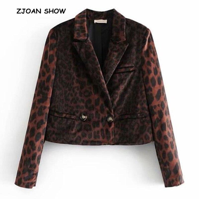 Новинка 2019 года, женский весенний велюровый блейзер с зазубренным воротником и леопардовым узором, винтажный бархатный пиджак с длинными рукавами, пальто, верхняя одежда