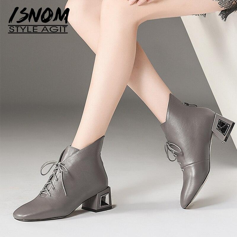 ea9815f663c016 black Femme Isnom Cheville Li Femmes Bout D'hiver Dan En Épais Mao Li Bottes  Chaussures Boot Li Talons Liée Carré ...