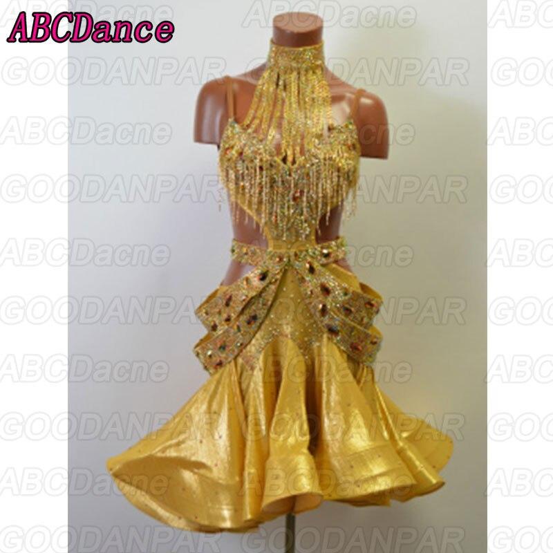 2018 New Latin Dance Dress Women, Golden Sexy Latin Cha Cha Tango Dance Dresses,Custom-made Handmade Dance Dress.