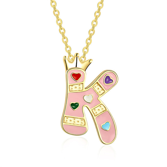 Women New Fashion Capital Initial Letter K Pendant Charm Gold Color Crown  Alphabet Letter Necklace