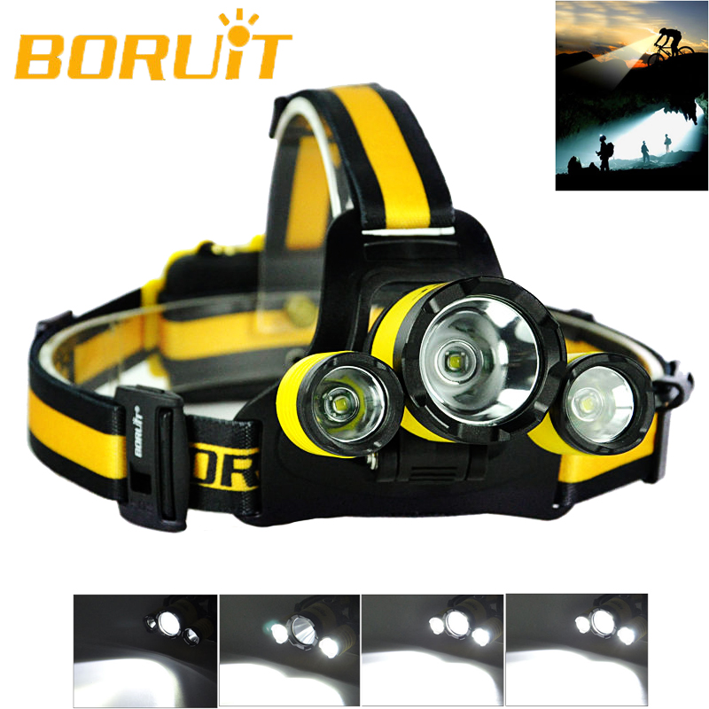 Upgraded BORUiT RJ-3000 Plus 3x XM-L T6 LED Micro USB Cree LED Headlamp Headlight Cycling Flash Light Headlamp