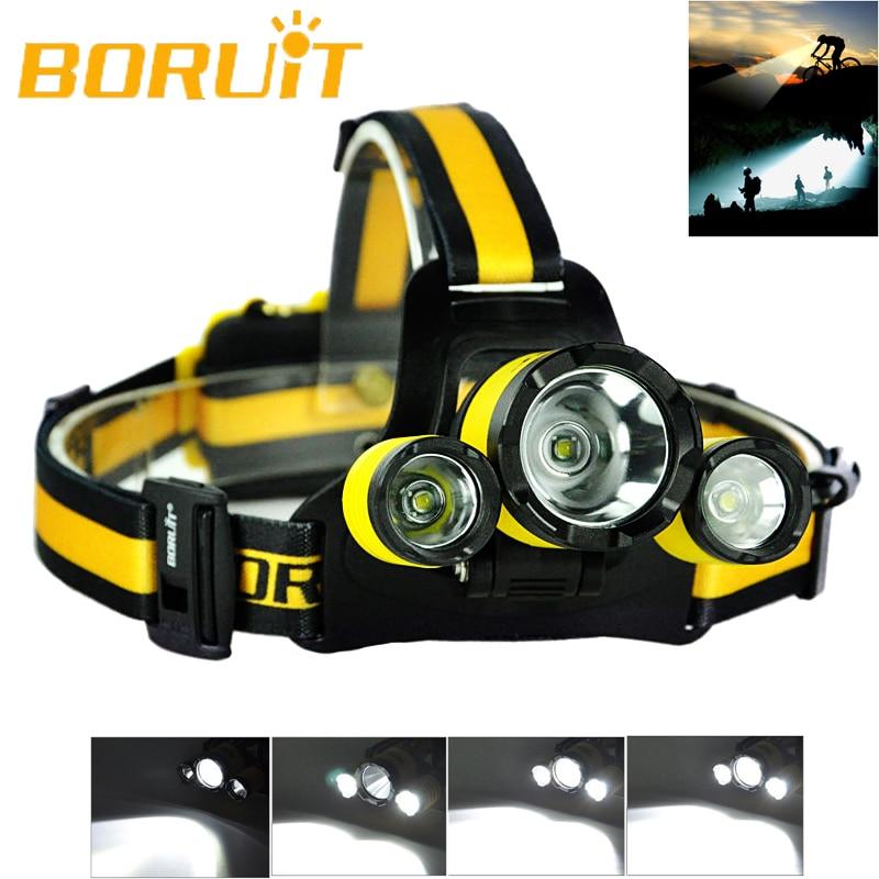 Upgraded BORUiT RJ 3000 Plus 3x XM L T6 LED Micro USB Cree LED Headlamp Headlight Cycling Flash Light Headlamp