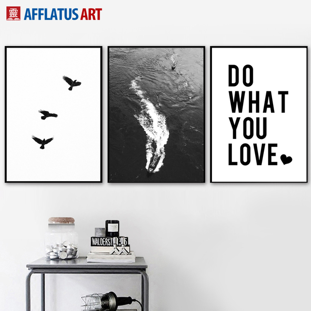 Black White Bird Seascape Love Quotes Wall Art Canvas Painting ...
