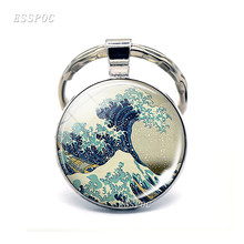 Great Wave At Kanagawa Art Keychain Japanese Cabochon Glass KeyChain Jewelry Necklace surfer's gift Bracelet Fashion Earrings(China)