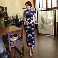 Blue Cheongsam Dress Jacquard Women Velvet Qipao Long Chinese Traditional Dress Short Sleeve Vintage Cheongsams Velour M XXXL