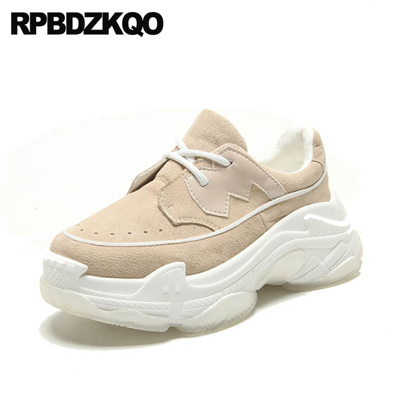 Chinese Harajuku Sneakers Elevator Wedge Women Nude Suede Casual Round Toe Lace Up Thick Sole Creepers Platform Shoes Muffin