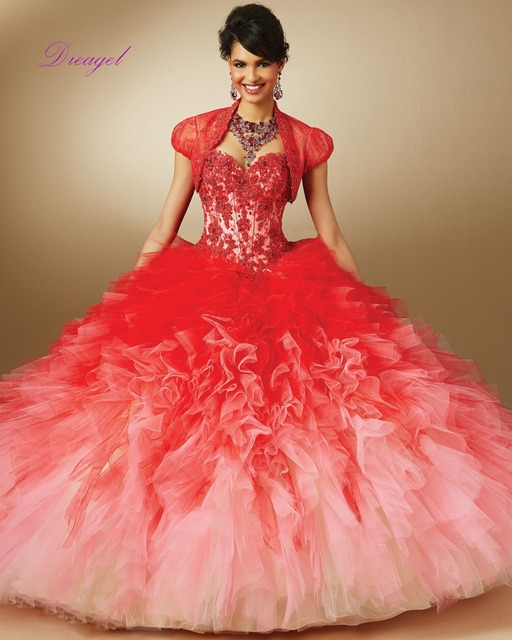 Dreagel Elegante Princesa Vestidos Quinceanera Vermelho Bacana Frisado Apliques de 15 Años Baratos vestido de Baile 2016 Vestidos De Debutante