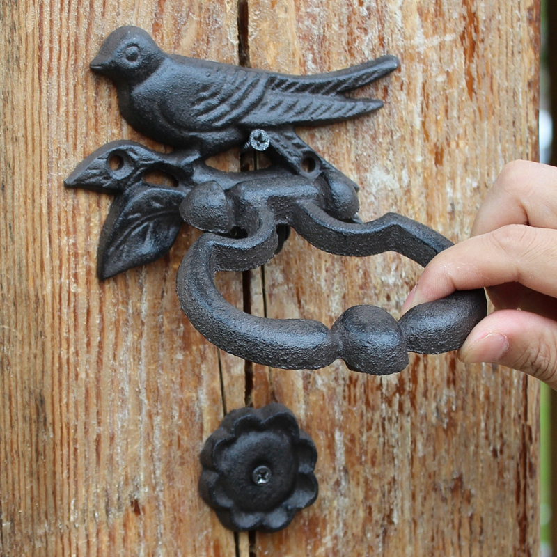 1 2 3 4 European Vintage Bird Figure Design Cast Iron Hand Knocking Door  Handle ...