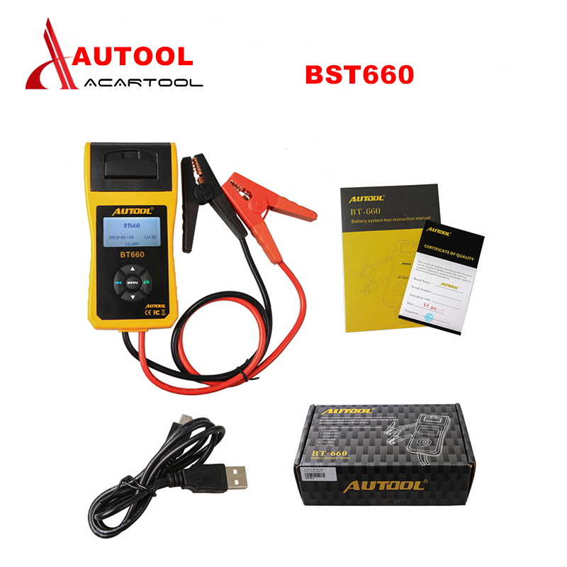 Best Quality AUTOOL 12V Car Battery Load Tester with printer BT660 Multi language Digital automotive battery