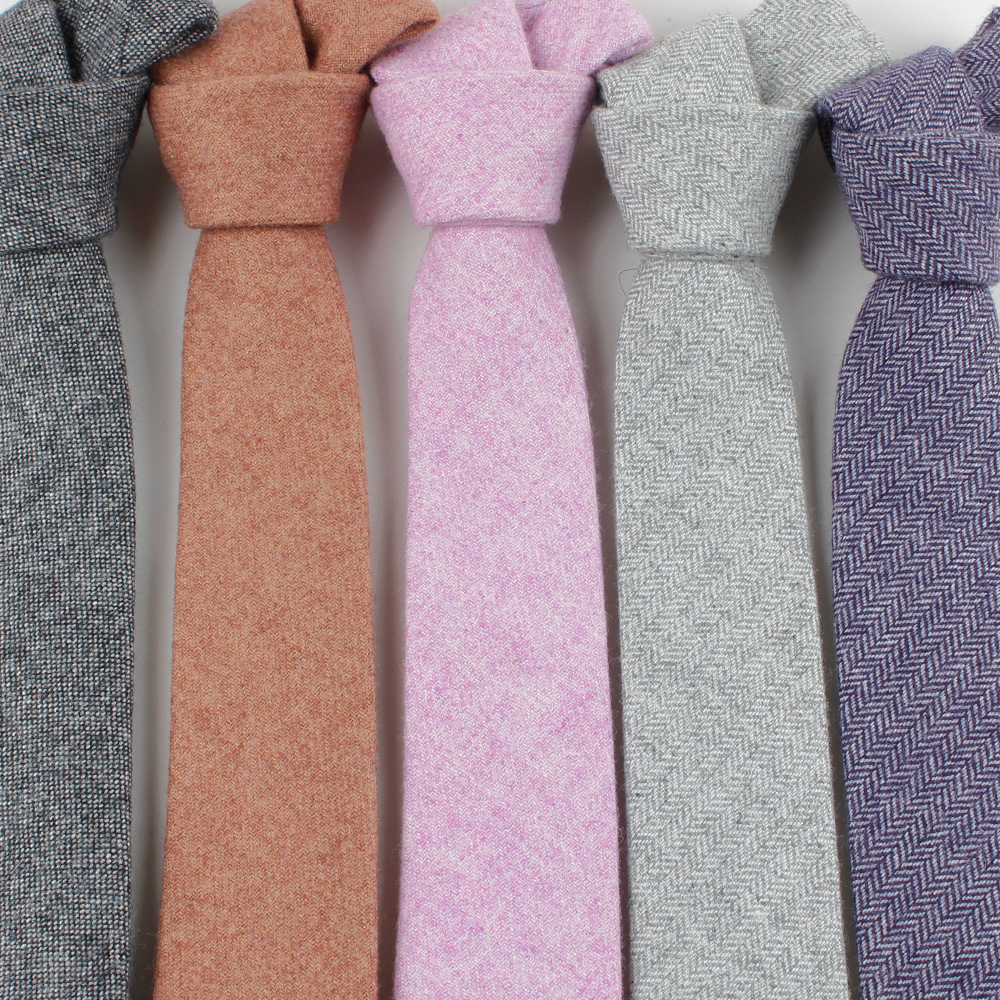 High Quality Wool Viscose Tie Skinny Ties Narrow Solid Color Corbata Slim Striped Necktie Cravat Clothing Accessories 23colors