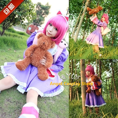 Game Anime LOL  Annie Party Fashion The lady of the night Lolita Dress Skirt Uniform Cosplay Costume 2 Colors Any Size