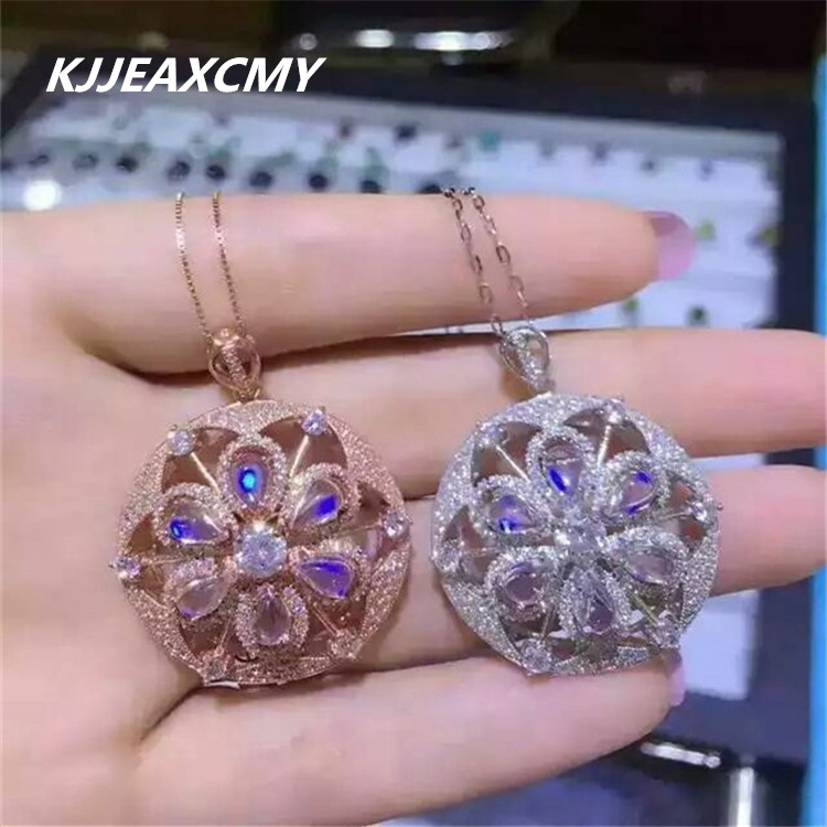 KJJEAXCMY boutique jewelry,Natural blue moonlight female pendant jewelry, inlaid jewelry wholesale, S925 sterling silver wholesa s925 sterling silver inlaid natural stone thai silver beautiful burning blue brooch female pendant new products