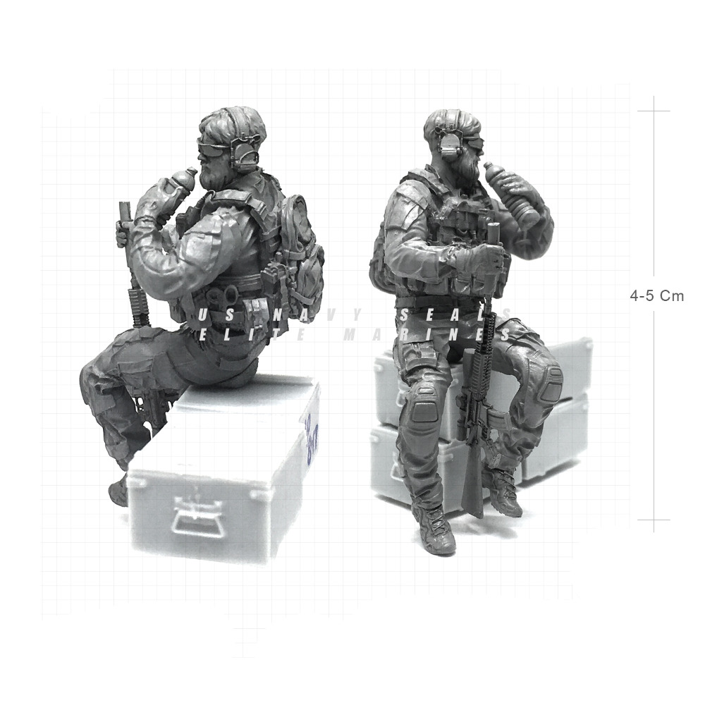 Tobyfancy 1/35 Modern U.S Navy Seals Elite Marines Rest State Military Soldier Resin Model Figure NAI-19 ...