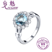 100% 925 Sterling Silver Inlay Radiant Blue Clear Zircon Weding Engagement Finger Ring For Women Fine Jewelry FCGJHW