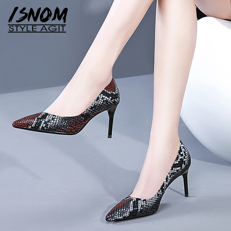 ISNOM Shallow Snake Print Women Pumps Pointed Toe Footwear High Heels Female Shoes Fashion Leather Shoes Woman Spring 2019 NewISNOM Shallow Snake Print Women Pumps Pointed Toe Footwear High Heels Female Shoes Fashion Leather Shoes Woman Spring 2019 New
