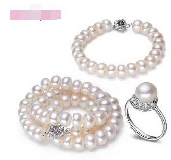 Vente chaude nouveau-shitou 00523 Naturel D'eau Douce Collier de Perles, Bracelet et Bague avec 925 Argent pour les Femmes