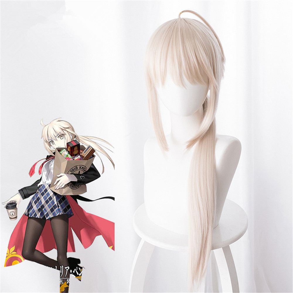 Arturia Pendragon Cosplay Wig Fate stay night Grand Order Saber Alter Long Straight Synthetic Hair