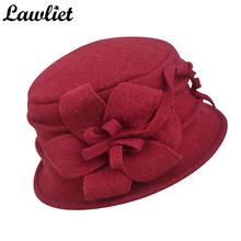 Winter Women Hat Pure Wool Cap Church Hat Flower Warmer Sombreros Ladies Cap Crochet Bucket Hats Femme Hiver Skullies Beanies