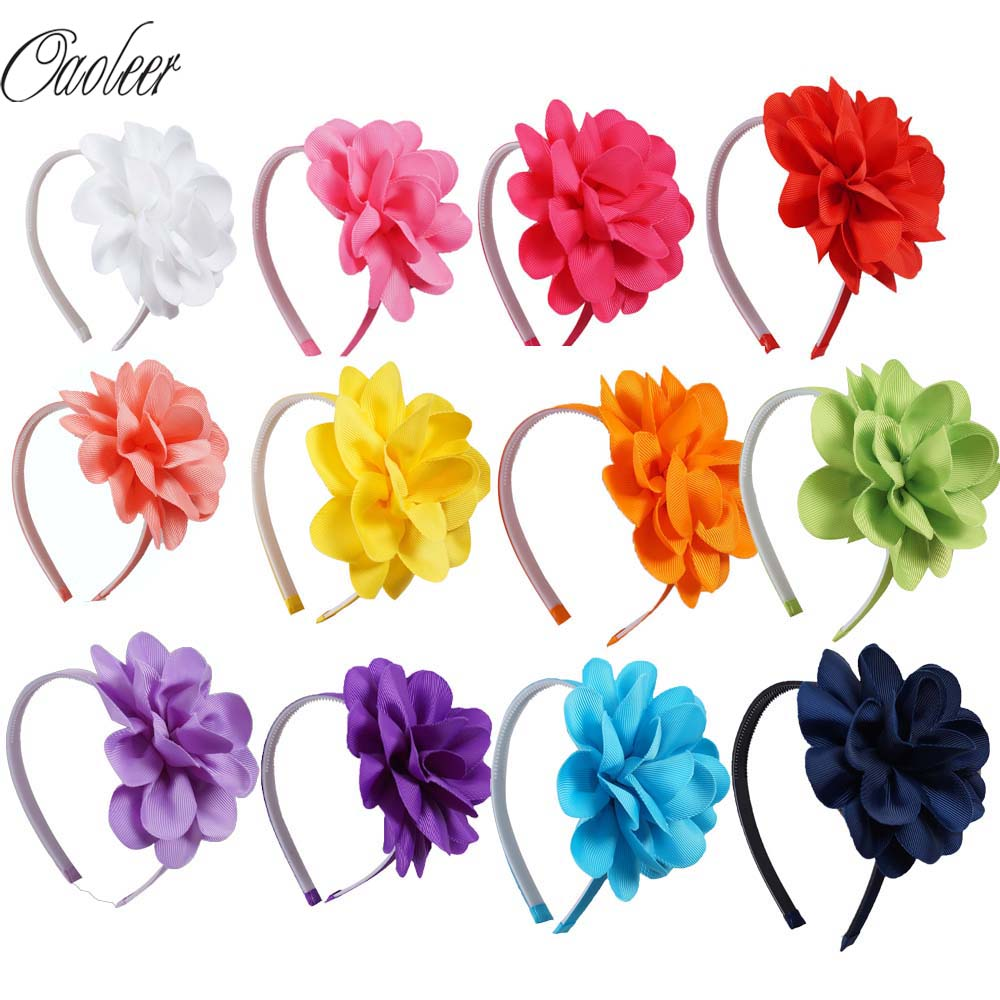 Oaoleer 10pcs/lot Kids Hair Accessories Girls Hairband Hair Bows Headbands For Women Girl Ribbon Flower Hair Bands   Headwear
