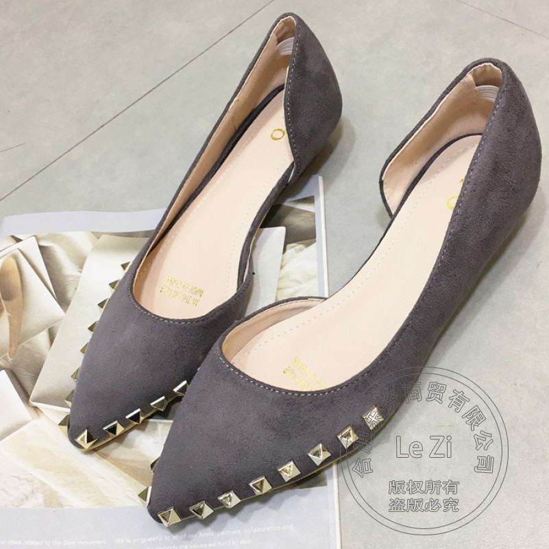 Plain Long Toe Solid Designer Shoes Nubuck Leather Spikes Flock Gentlewomen Vintage Shoes font b Women