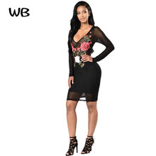 Novel Women's Dresses Female Black Lace Sexy V collar Long sleeve Exquisite Lace embroidery Decorate Women Autumn Party Dress