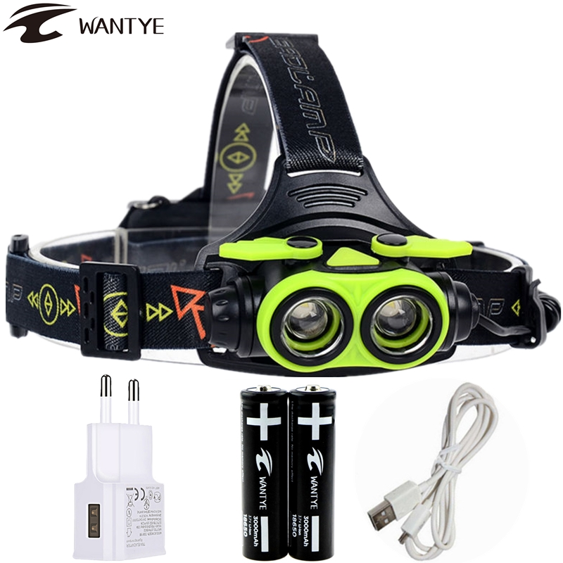 6000lm Zoom LED Headlamp USB Head lamp Rechargeable XML 2L2 Headlight 18650 AA Head Light Running Camping Flashlight torch 30w led cob usb rechargeable 18650 cob led headlamp headlight fishing torch flashlight
