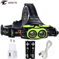 6000lm Zoom LED Headlamp USB Head Lamp Rechargeable XML 2L2 Headlight 18650 AA Head Light Running