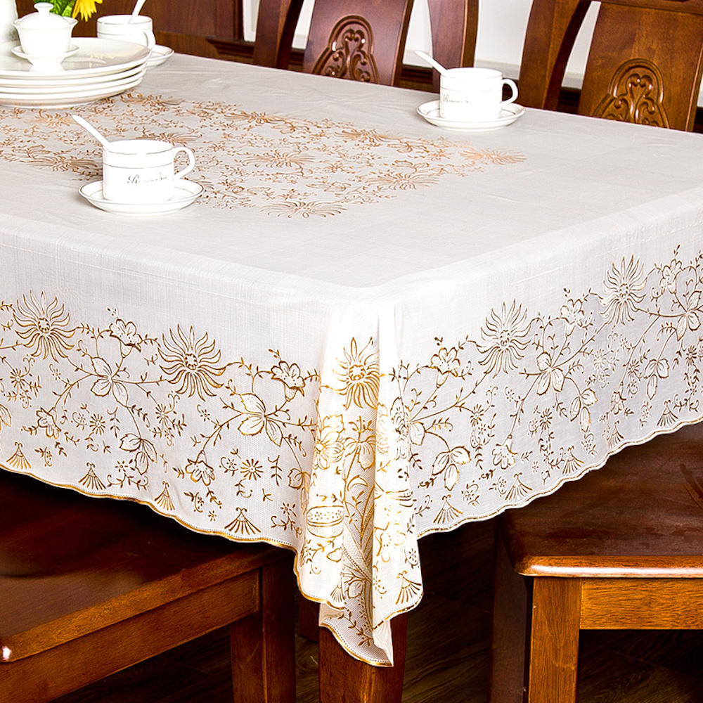 PVC Tablecloth Dining Table Plastic Cover Coffee End Table Cloth Waterproof Square Rectangle 137x137cm 137 x 180cm Printed Gold