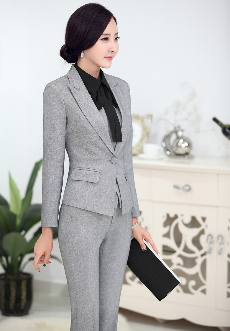 8635268e89 US $44.8 15% OFF|Plus Size 4XL Novelty Grey Professional Business Women  Suits Jackets And Pants Uniform Styles Female Pants Trousers Set Blazers-in  ...