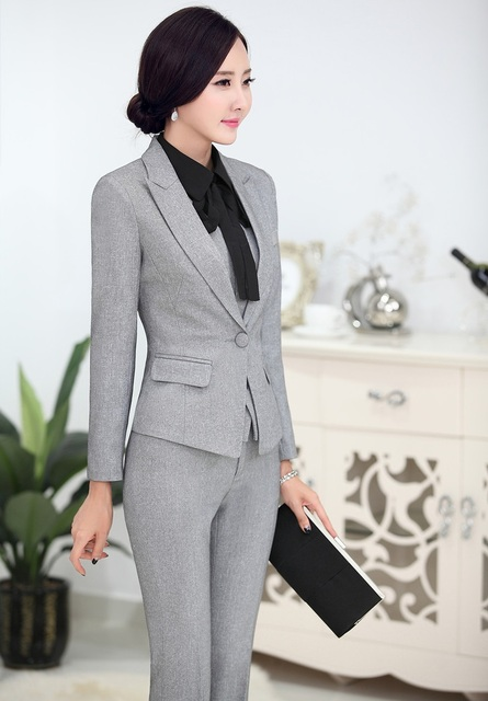 Plus Size 4xl Novelty Grey Professional Business Women Suits Jackets