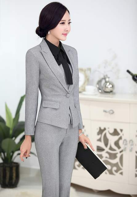 2db4ee6d889 placeholder Plus Size 4XL Novelty Grey Professional Business Women Suits  Jackets And Pants Uniform Styles Female Pants