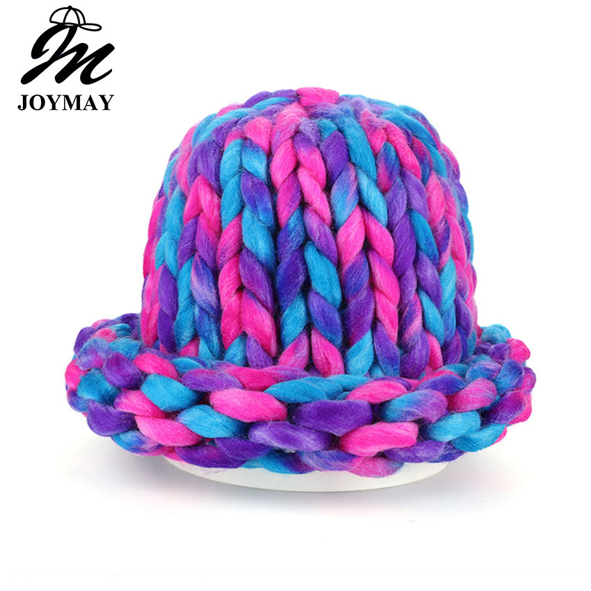 Joymay 2017 Brand New Winter Beanies Warm Hat Unisex Warm Soft Skull Knitting Cap Hats Coarse For Men Women  Crochet Caps W247 the new 2016 han edition affixed cloth wave cap hat hat tip to keep warm letter knitting hat qiu dong men and women