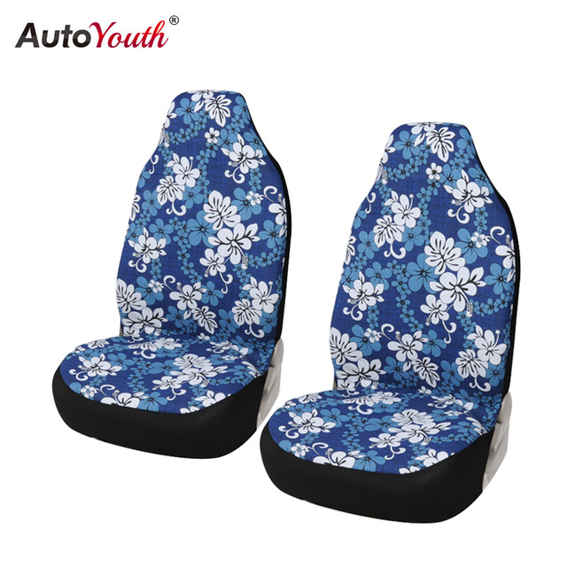 2PCS Car Bucket Seat Covers Blue Hawaiian Print Cotton Accessories Universal Fit Front
