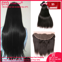 Brazilian Hair Weave Bundles With Frontal Straight Human Hair Bundles With Closure Ear to Ear Lace Frontal Closure With Bundles