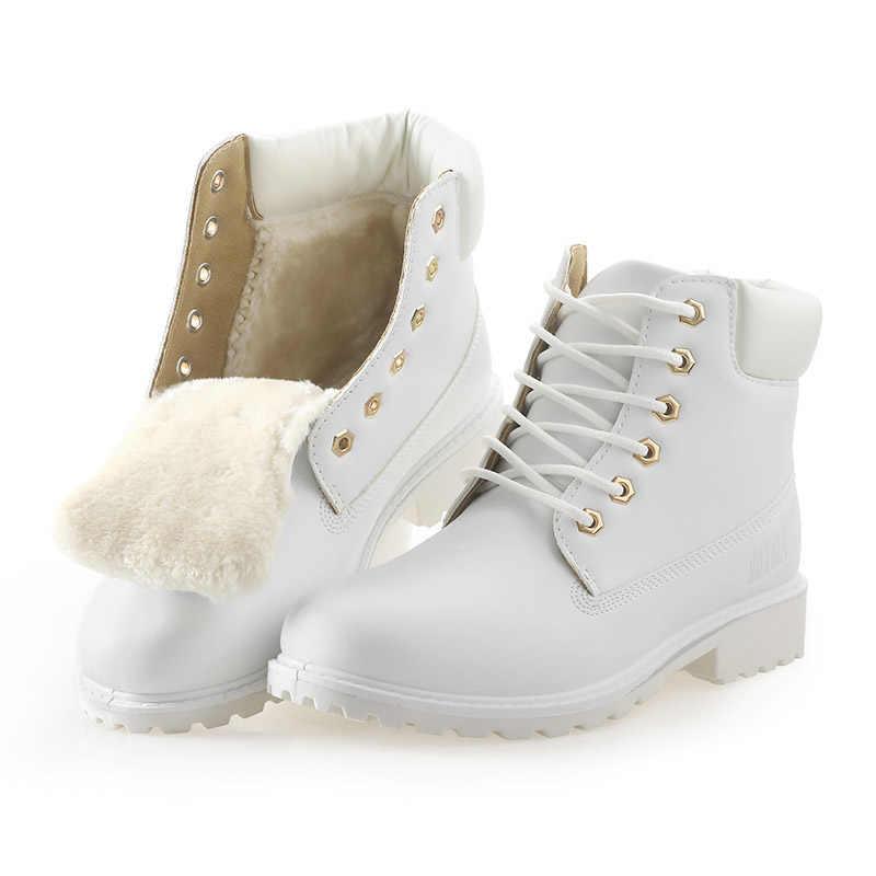 QUANZIXUAN Mulheres Bota Outono Inverno Mulher Botas de Moda Botas de Neve Para Meninas Das Senhoras Das Mulheres Tornozelo Sapatos de Trabalho Das Mulheres Plus Size 36-41