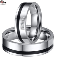 NFS 6MM Stainless Steel Inlaid With Three Zircon Couple Rings Set Ceramics Black Enamel Lovers Wedding