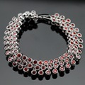 New Arrival Silver Color 18cm Link Chain Bracelet For Women Red Created Garnet  AAA Jewelry Free Gift Box