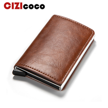 New Men Antitheft Card Holder Fashion Metal Credit RFID Aluminium Case PU Leather Travel Wallet