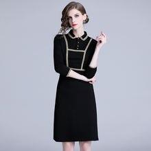 Женское винтажное платье с длинным рукавом Черное длинное приталенное