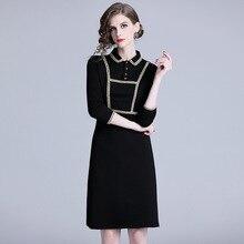 Spring and Summer Vintage Womens Long-sleeved Slim Dress Black Doll Collar Long Temperament