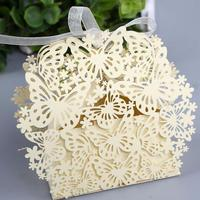 50pcs/pack Free Shipping Red/White/Pink/Purple Laser Cut Butteryfly Wedding Favor Candy Box Casamento Wedding Gifts Boxes