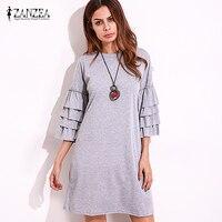 2017 ZANZEA Women Vintage Crew Neck Flare Sleeve Ruffled Autumn Casual Mini Sweats Dress Long Shirt