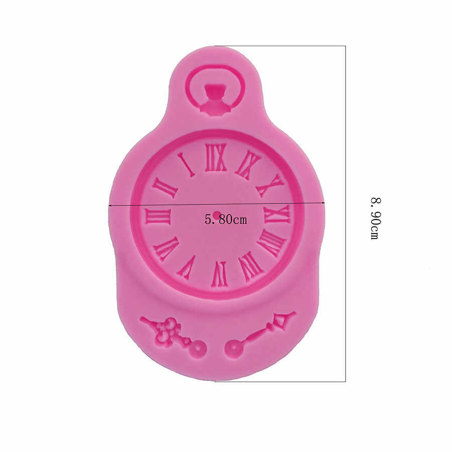 Clock shape Silicone Mold for cake Decorations tools Fondant  Polymer Clay Resin Candy Fimo Super Sculpey F0714