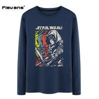 Flevans Brand Clothing Movie Men Long Sleeve O Neck Cotton Tshirts Star Wars Dark Warrior Printed